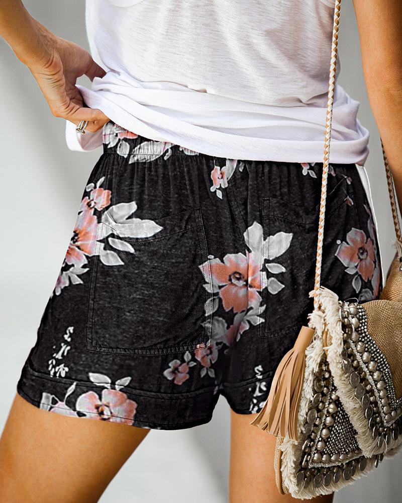 Vieley Elastic High Waist Printed Pocketed Adjustable Rope Pants Casual Beach Swimming Shorts