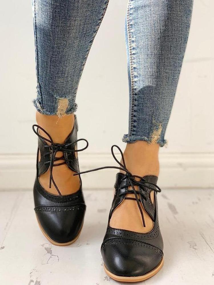 Vieley Womens Lace-up Chunky Heeled Sandals
