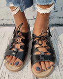 Vieley Summer Lace Up Slingback Buckle Sandals