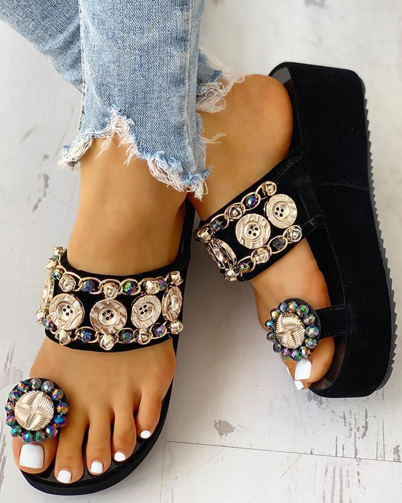 Vieley Jewelry Embellished Toe Ring Platform Sandals