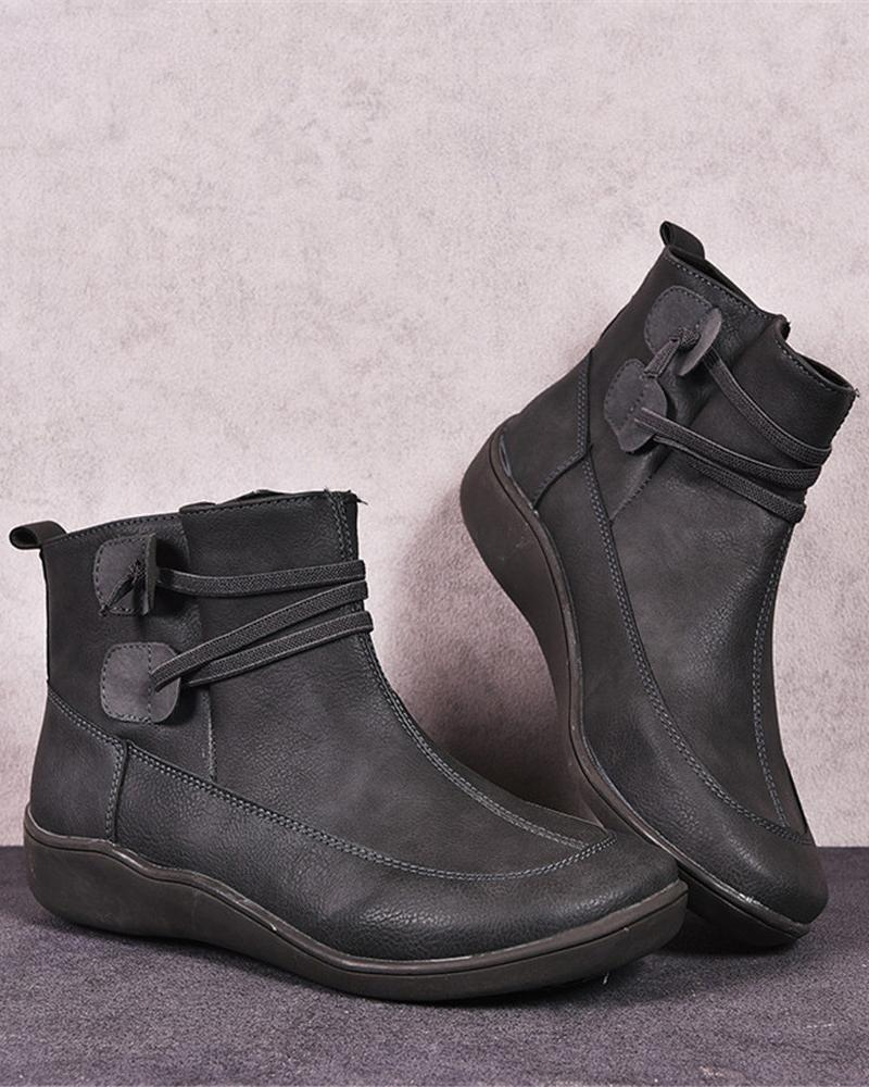 Vieley Lace-up Ankle Booties Round Toe Flat Comfy Short Boots