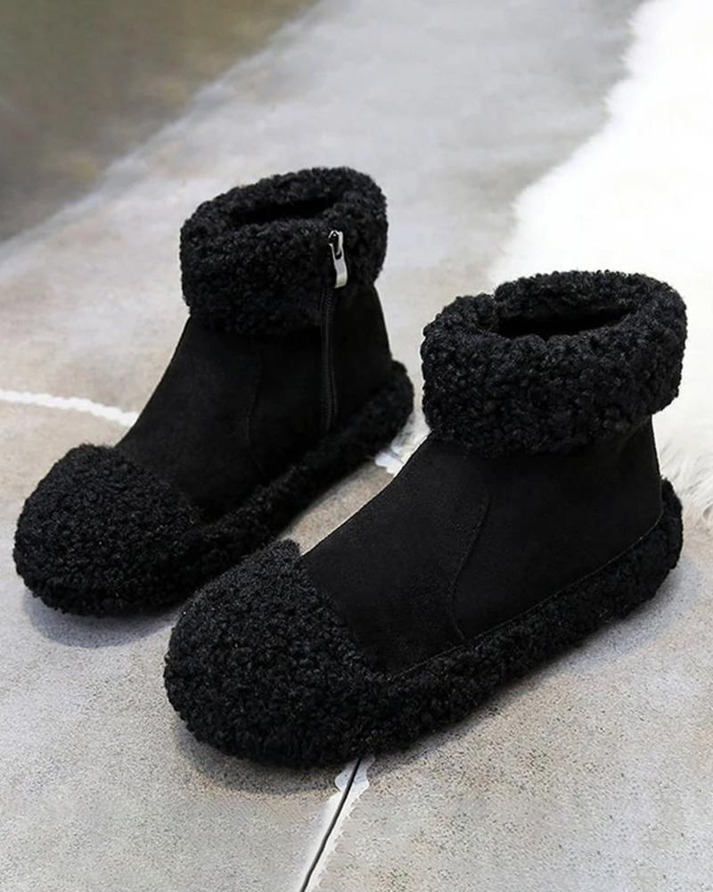 Vieley Winter Warm Ankle Booties Fluffy Round Toe Side Zipper Comfy Boots