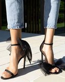 Vieley Open Toe Dating Heels Ankle Strap Sandals