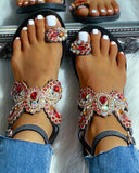 Vieley Toe Ring Colorful Rhinestone Embellished Butterfly Buckled Ankle Strap Sandals