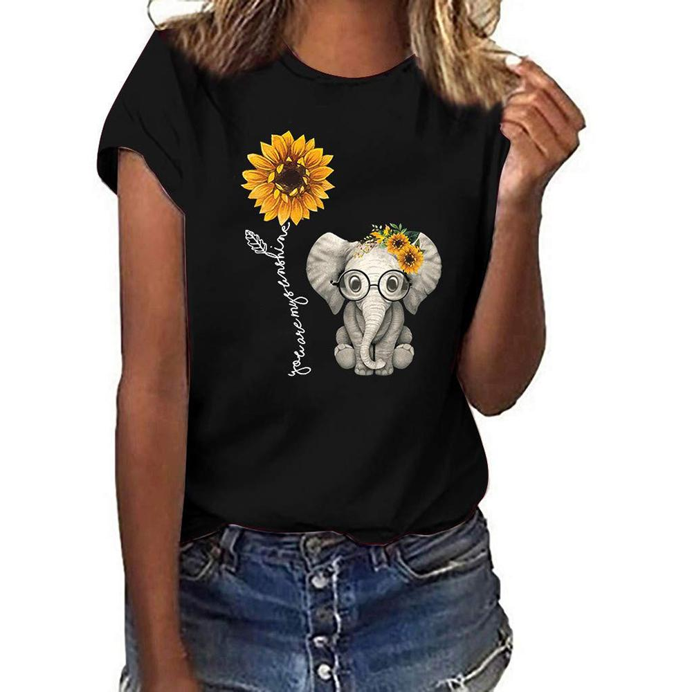 Vieley Women Short Sleeve Printed Sunflower Elephant T-shirts