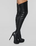 Vieley Platform Stilettos Leather Boot Thigh High Boots