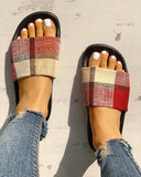 Vieley Plaid Slip on Comfortable Slides