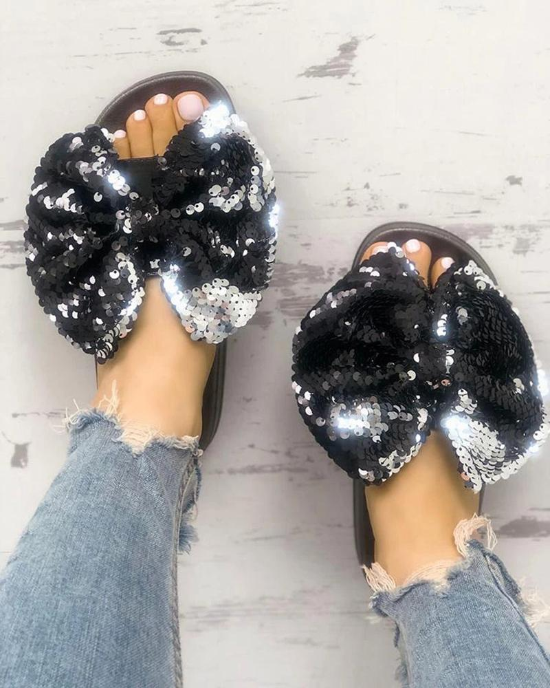 Vieley Womens Sequins Bow Slides Sandals