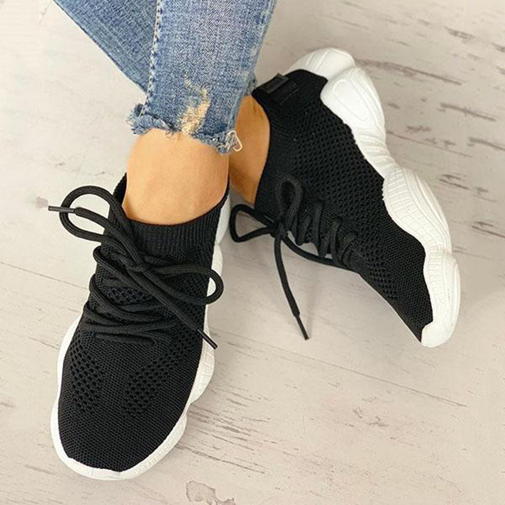 Vieley Breathable Solid Color Elastic Cuff Lace-up Comfortable Sneakers