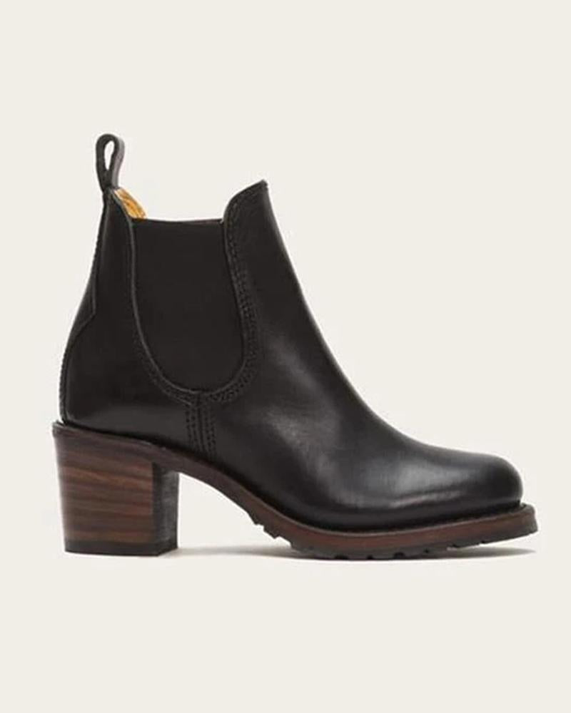 Vieley Round Toe Solid Color Slip-on Ankle Boots