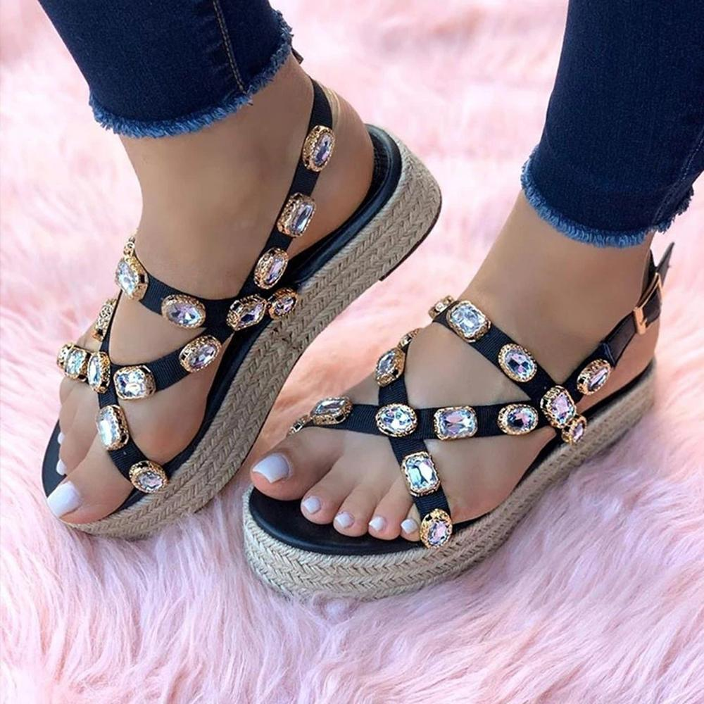 Vieley Diamond Platform Ankle Strap Slip On Sandals