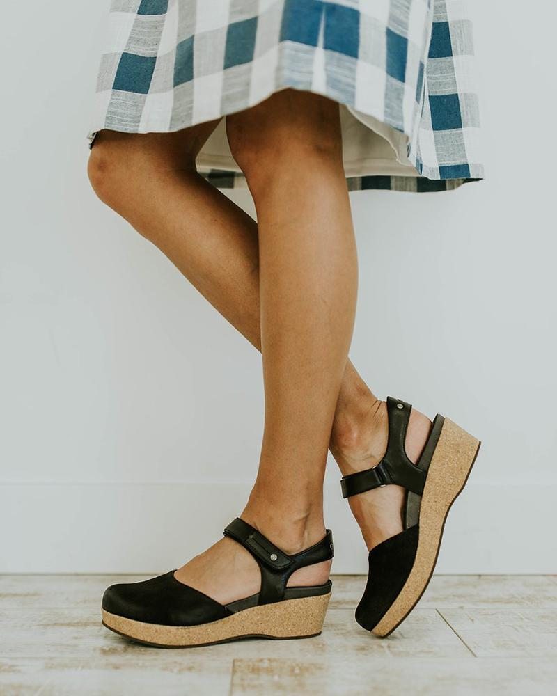 Vieley Retro Mary Jane Slingback Wedges Emblished Ankle Strap Closed Toe Sandals