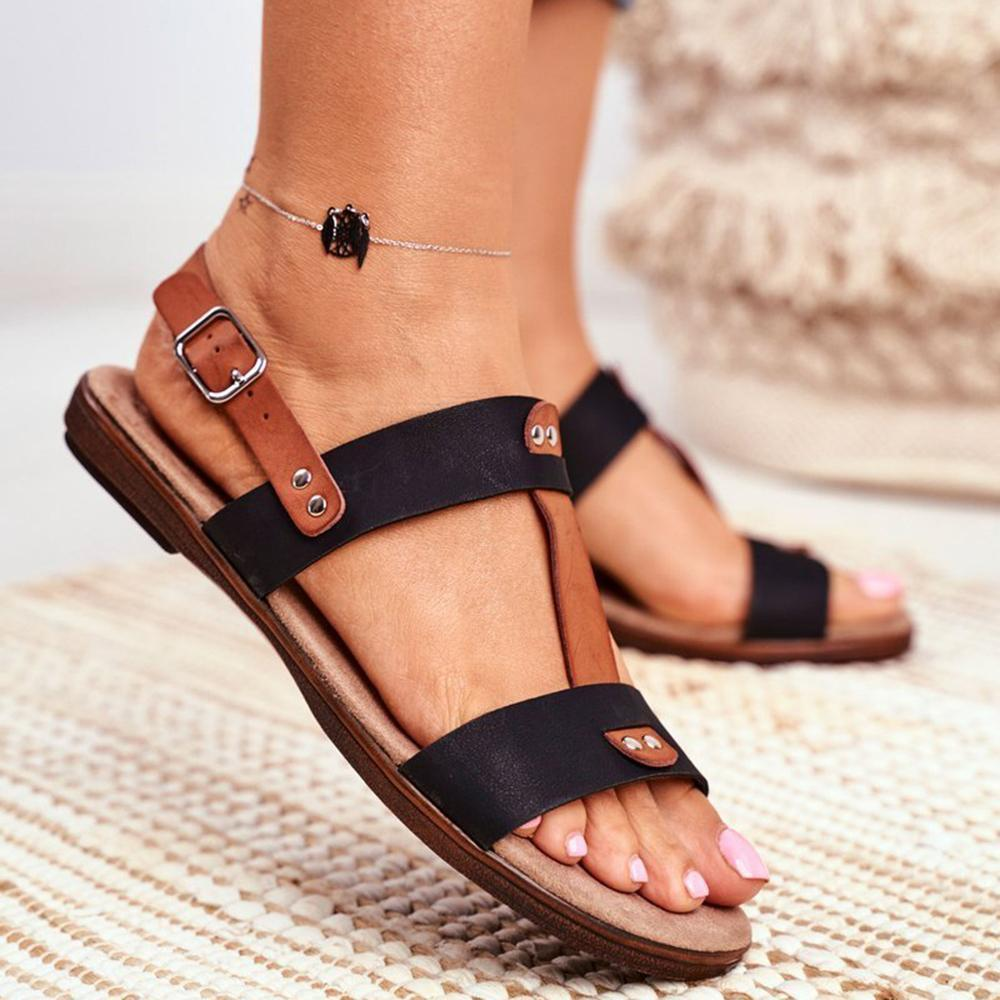 Vieley Womens Adjustable Ankle Buckle Summer Casual Flat Sandals