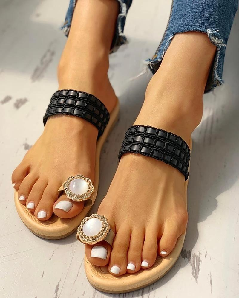 Vieley Rhinestone Embellished Flower Toe Ring Chain Strap Slip-on Slides