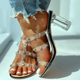 Vieley Womens Rivet Heeled Sandals Summer Beach Slides