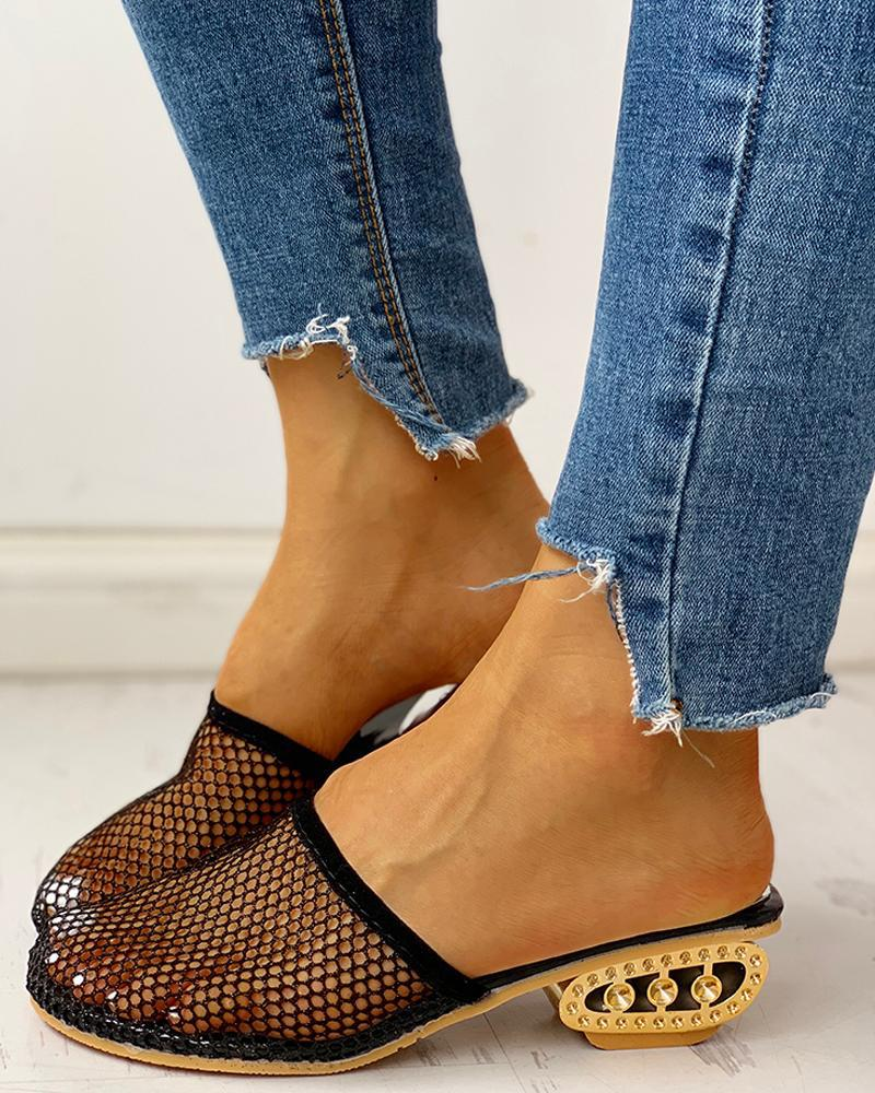 Vieley Mesh Hollow-out Breathable Slingback Chunky Heeled Slides