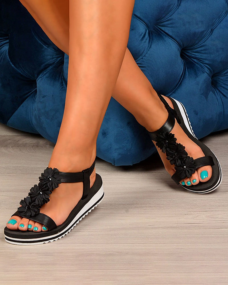 Vieley Platform T-strap Solid Color Causal Sandals