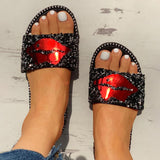 Vieley Womens Red Lip Glitter Summer Flat Slides