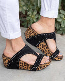 Vieley Studded Open Toe Slingback Wedges Platform T-strap Slip-on Sandals