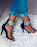 Vieley Rhinestone Embellished Cross-strap Ring Toe Back Zipper Sandals