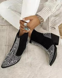 Vieley Pointed Toe Rhinestone Chunky Heeled Slip-on Boots