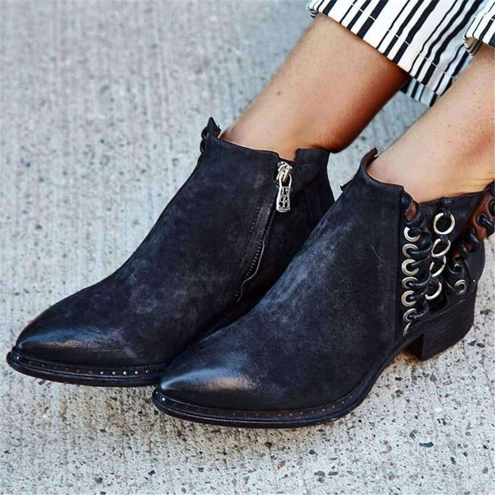 Vieley Faux suede Side Zipper Ankle Boots