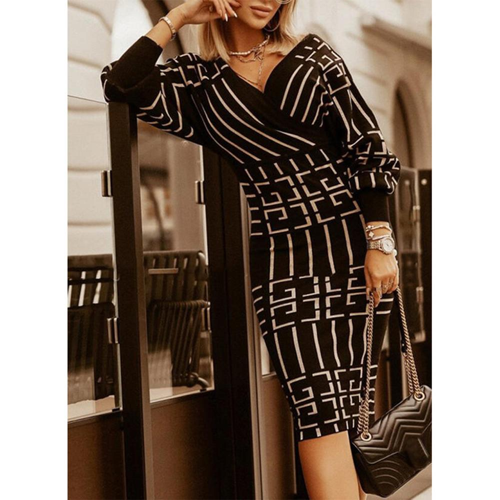 Vieley Autumn and Winter Sweater Dress Pattern Printing Long Sleeve Hip Dress