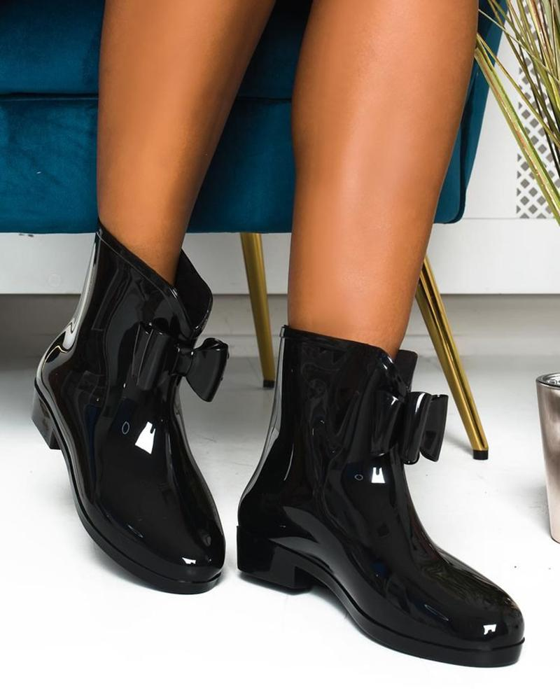 Vieley No-slip Rubber Rain Boots Bowknot Embellished Ankle Boots