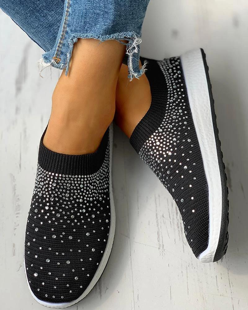 Vieley Womens Rhinestone Embellished Fashion Sock Sneakers