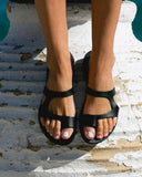 Vieley Z-strap Ring Toe Non-slip Solid Color Slides Slip-on Sandals