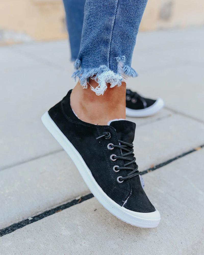 Vieley Lace-up Sneakers Round Toe Flat Walking Shoes