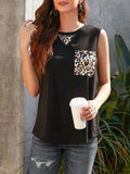 Vieley Leopard Printed Pocket Loose Sleeveless Tank Tops Round Neck Womens Vest