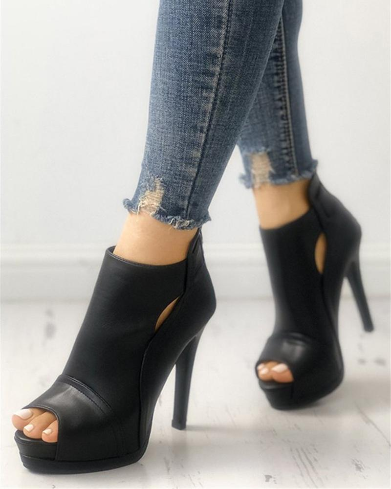 Vieley Peep Open Toe Stilettos Cut-out Back Zipper Sandals
