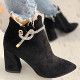 Vieley Lace-up Pointed Toe Solid Color Ankle Boots