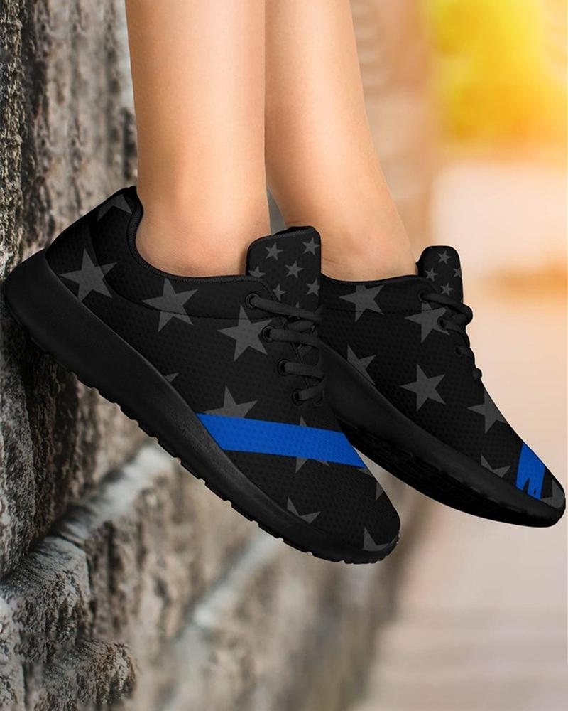 Vieley Elastic Sneakers Lace-up Stars Pattern Breathable Flat Shoes