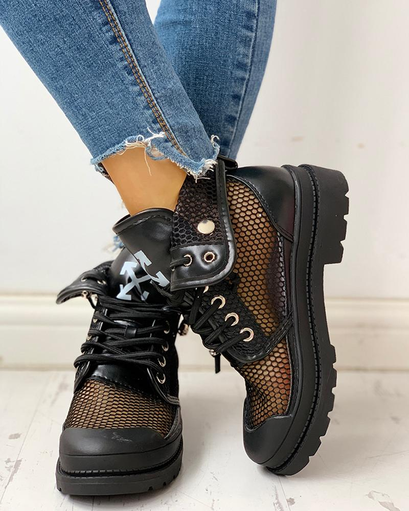 Vieley Eyelet Lace-Up Fishnet Martin Boots