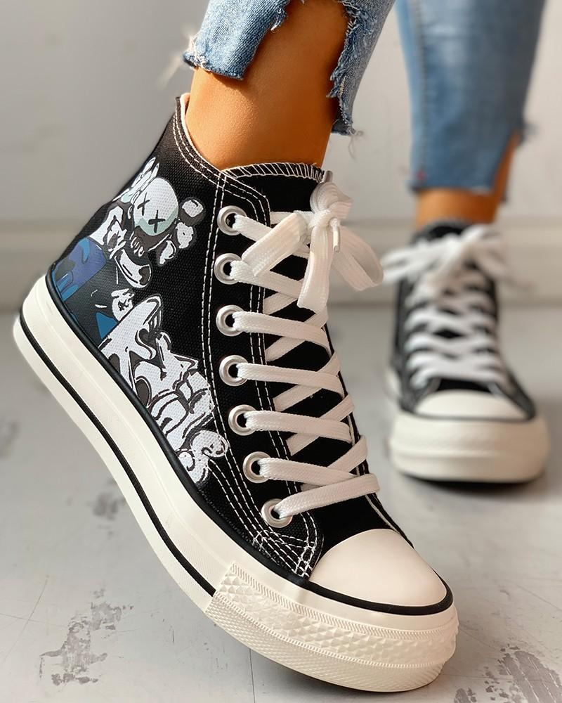 Vieley Womens Lace Up High Top Canvas Shoes