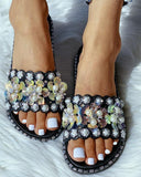 Vieley Casual Supportive Flat Pearl Slide Sandals