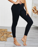 Vieley Women Fitness Gym Leggings Ruffle Pocket Sport Yoga Pants Solid Color High Waist Tummy Control Slim Tights