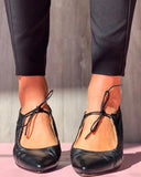 Vieley Retro Soft Mary Jane Flats Pointy Toe Sandals