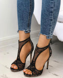 Vieley Mesh T-strap Peep Toe Back Zipper Heels