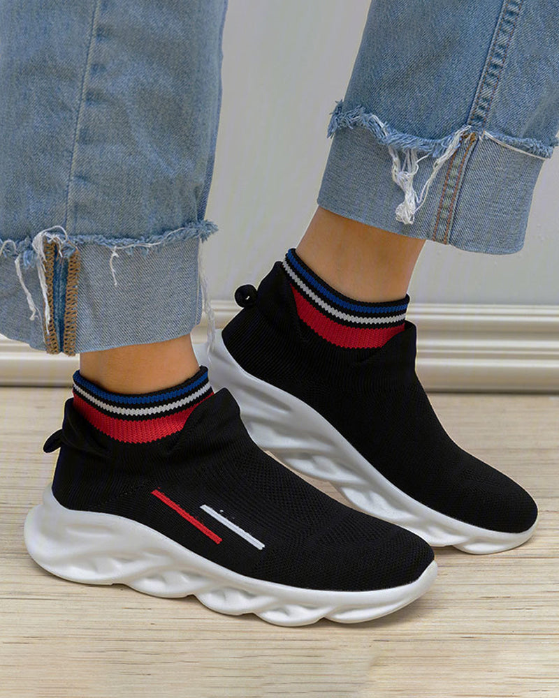 Vieley Solid Knitted Sneakers Supportive Elastic Sock Shoes