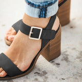 Vieley Womens Open Toe Ankle Strap Buckle Heeled Sandals