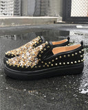 Vieley Rivet Squin Embellished Slip-on Fashion Glitter Loafers