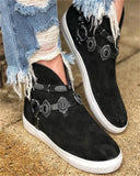 Vieley Women Casual Suede High Top Flat Sneakers
