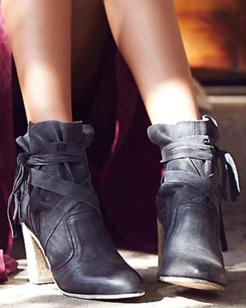 Vieley Pointed Toe Butterfly Embellished Cross Strap Height Heels Boots
