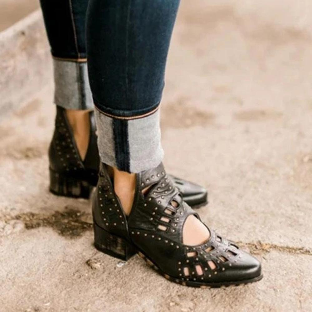 Vieley Rivet Hollow-out Point Toe Slip-on Retro Boots