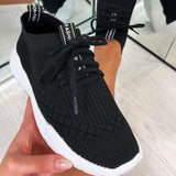 Vieley Breathable Colorblock Knitted Elastic Cuff Lace-up Comfortable Sneakers
