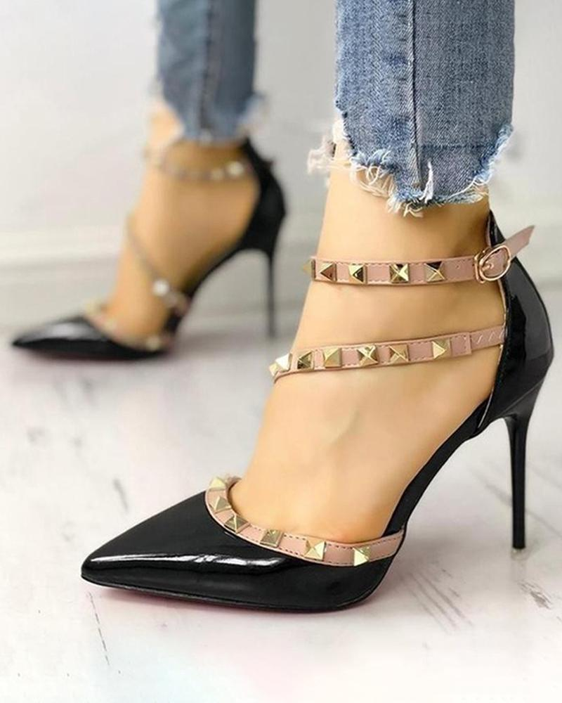 Vieley Pointed Toe Rivet Strap Stiletto Heeled Pumps