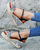 Vieley Printed Platform Espadrille Wedges Open Toe Slingback Buckled Ankle Strap Sandals